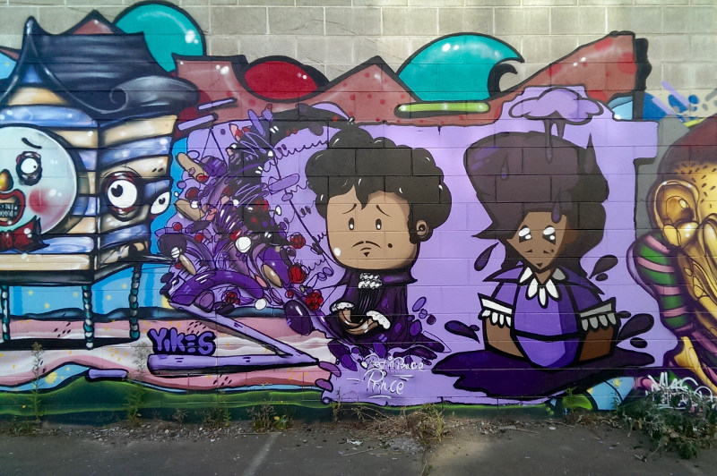 Street art on a wall in Christchurch.
