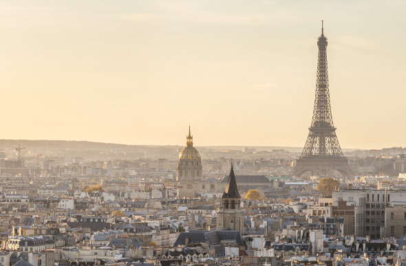 The Eiffel Tower and Sacre Coeur mark the Paris skyline.