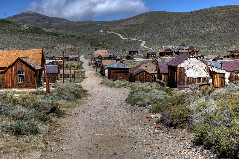 The abandoned ghost town of Bodie in California