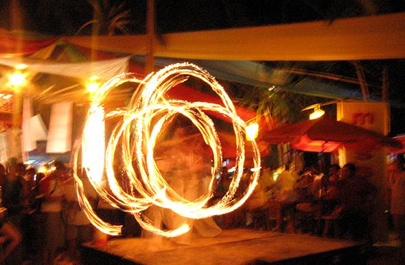 fire twirlers on boracay beach