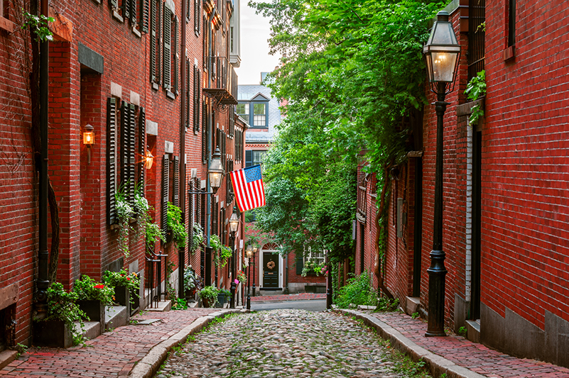 Acorn Street in Beacon Hill, Boston