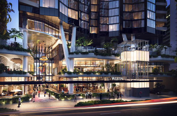 An artist's impression of the new Westin Brisbane hotel.