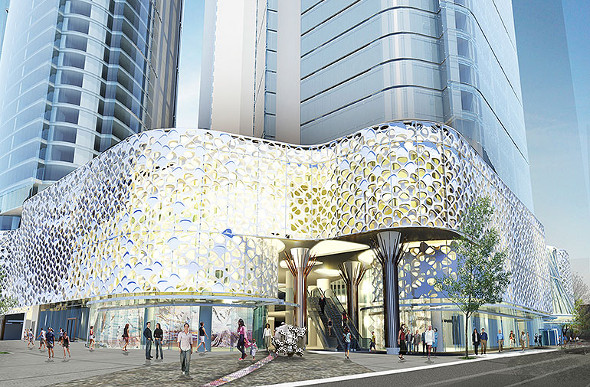 An artist's impression of the W Brisbane hotel.