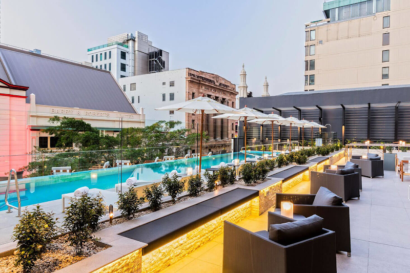 Next Hotel outdoor pool that looks out onto the Queen Street Mall in Brisbane