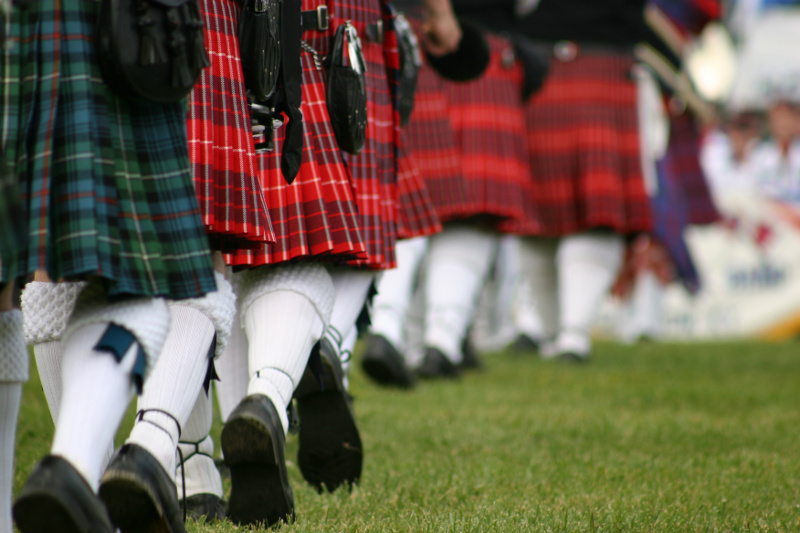 A close up of kilts at the Highland Games in Scotland. Image: Getty