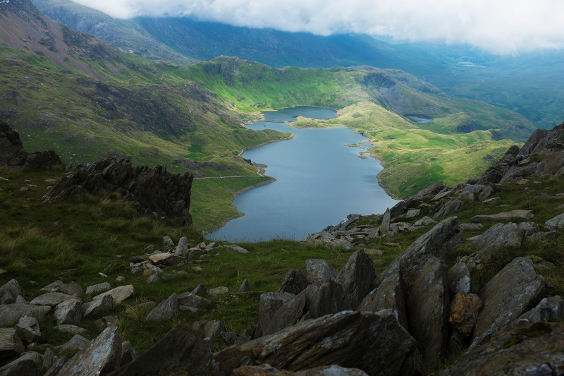 The magical Llyn Llydaw, viewed from Mount Snowdon in Wales. Image: Getty