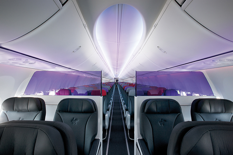 View from Business class to Economy cabin on Virgin Australia plane