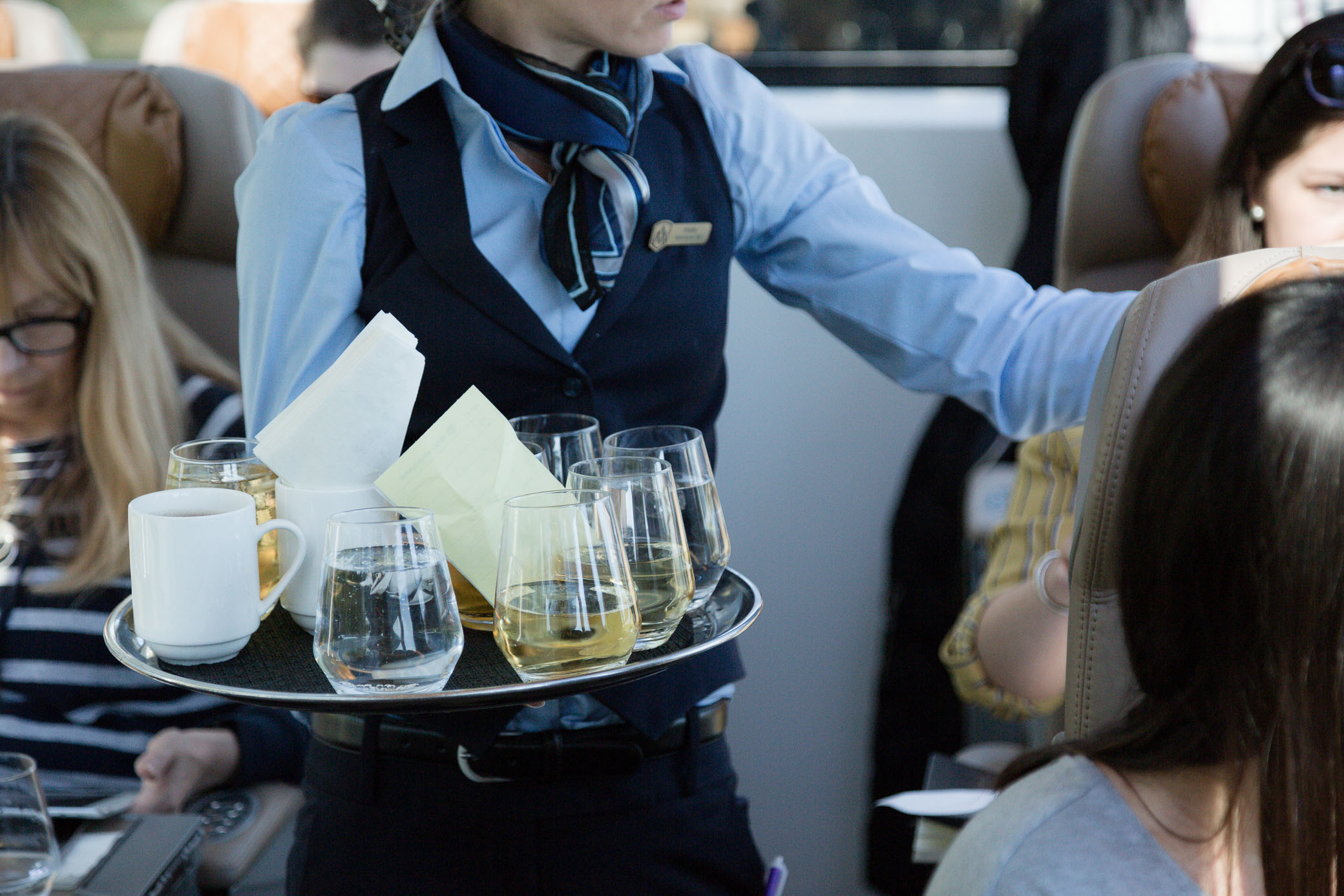 drinks service aboard the rocky mountaineer