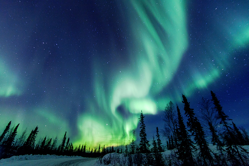 aurora borealis over yellowknife in canada