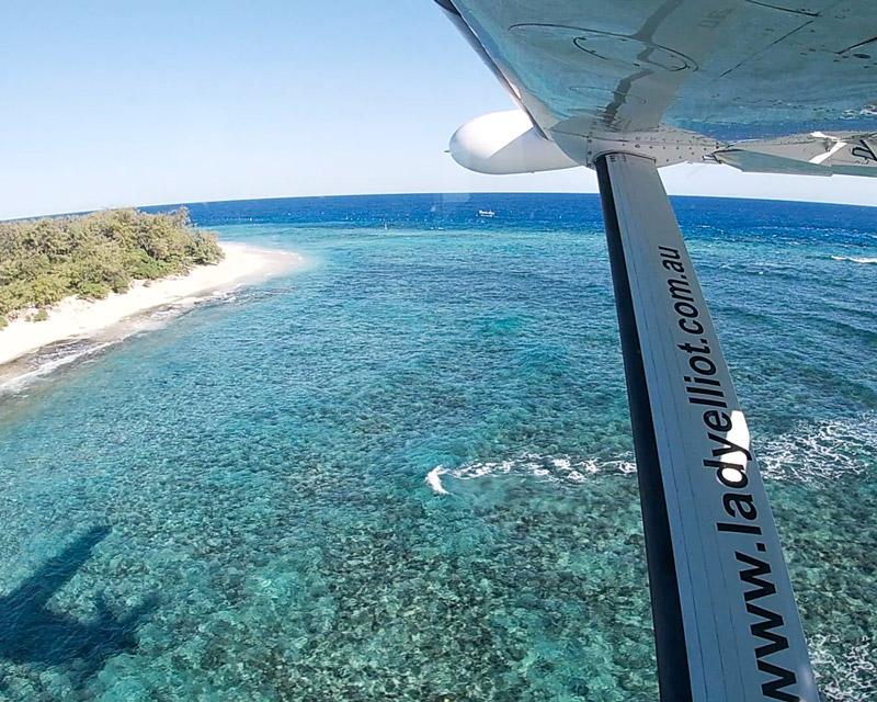 Flying into Lady Elliot Island. Photo: Paula Albers