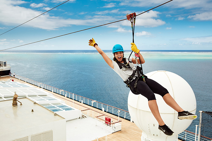 The Edge Zipline onboard Carnival. Image: Carnival Cruises