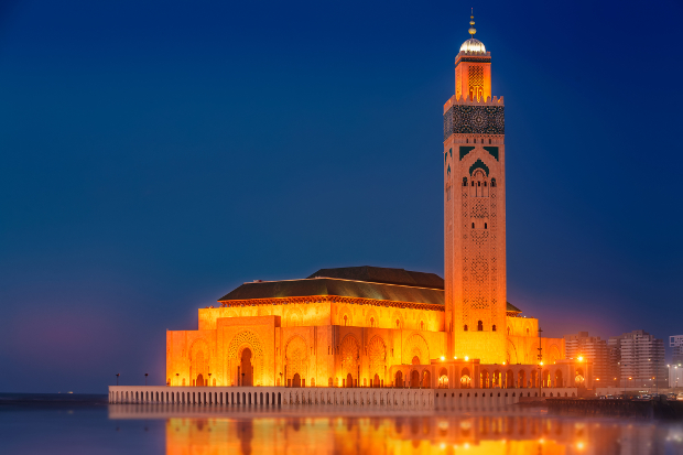 Casablanca Mosque lit up at night