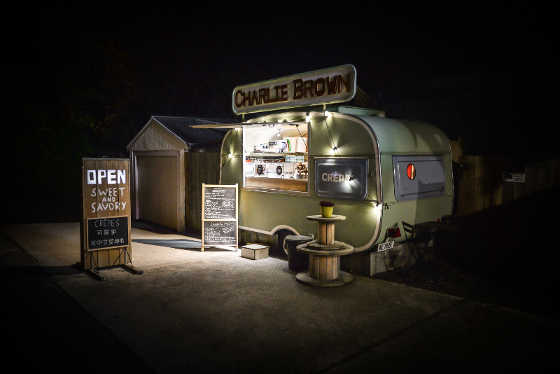Charlie Brown food truck at night