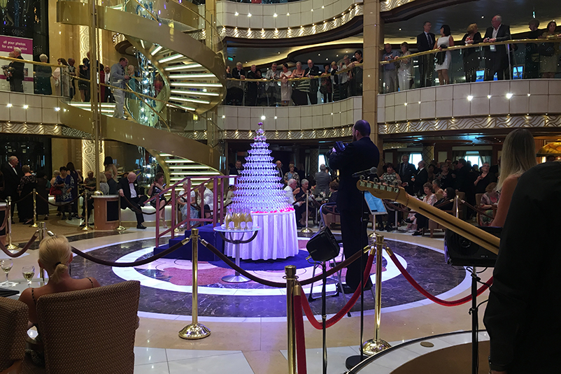 Champagne tower on the Majestic Princess cruise ship