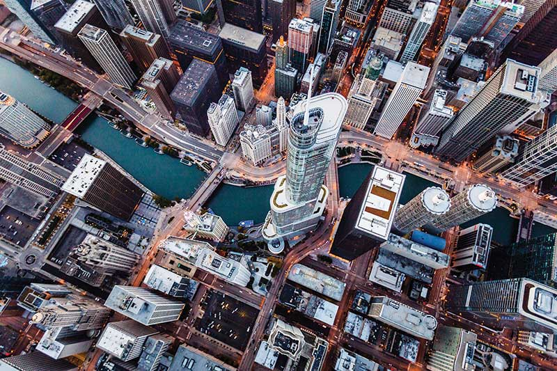 Chicago skyline from above