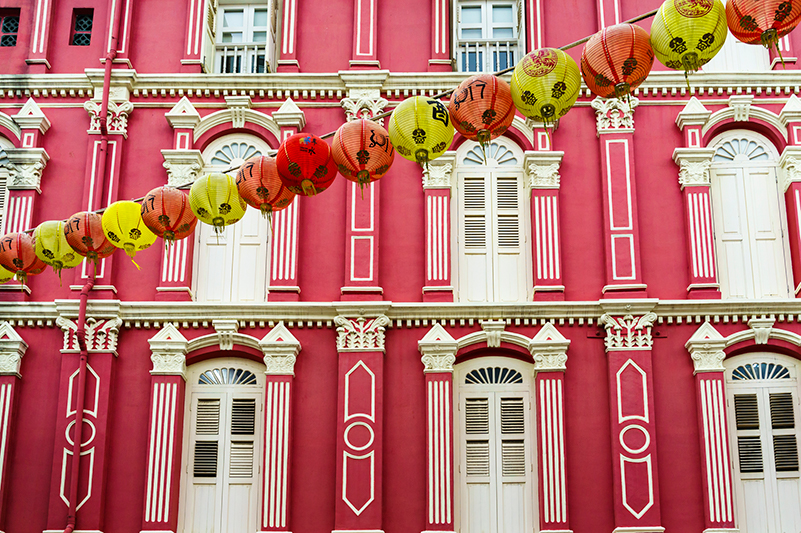 Colourful shophouses in Singapore's Chinatown neighbourhood