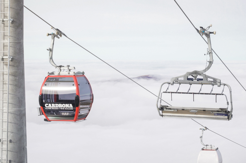 ski lift chair and cabin
