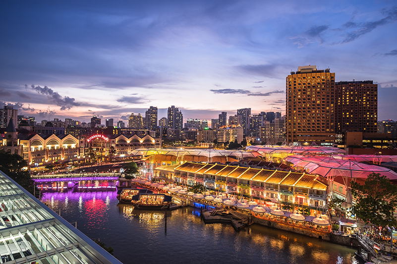 Clarke Quay at twilight