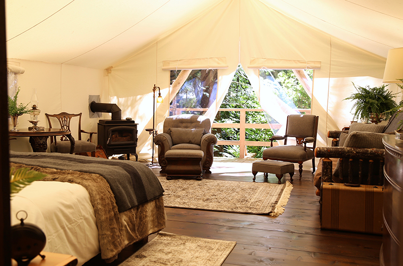 Inside a rainforest deluxe tent at Clayoquot Wilderness Resort