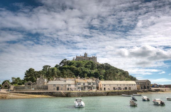 The castle island of St Michael's Mount in Cornwall, England.
