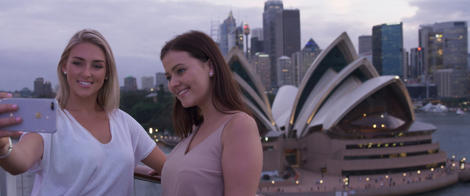 selfi with opera house behind ovation of the seas ship