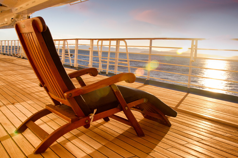 The deck of a cruise ship.