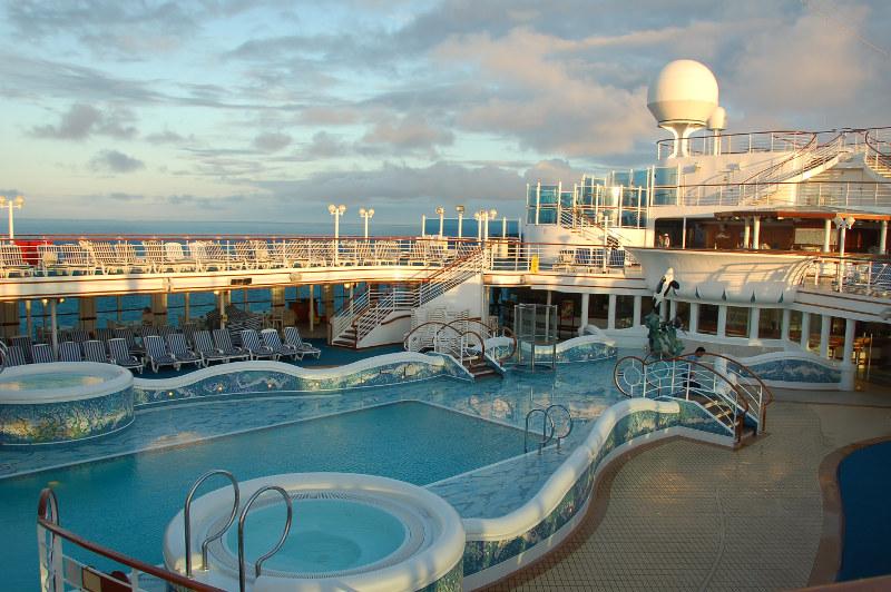 A swimming pool on board a cruise ship.