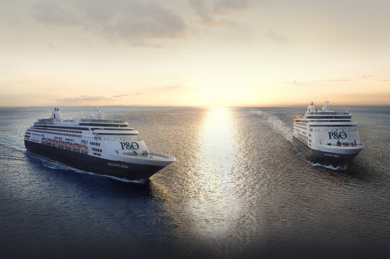 P&O Cruises' Pacific Aria and Pacific Eden cruise ships on a calm sea at sunset.