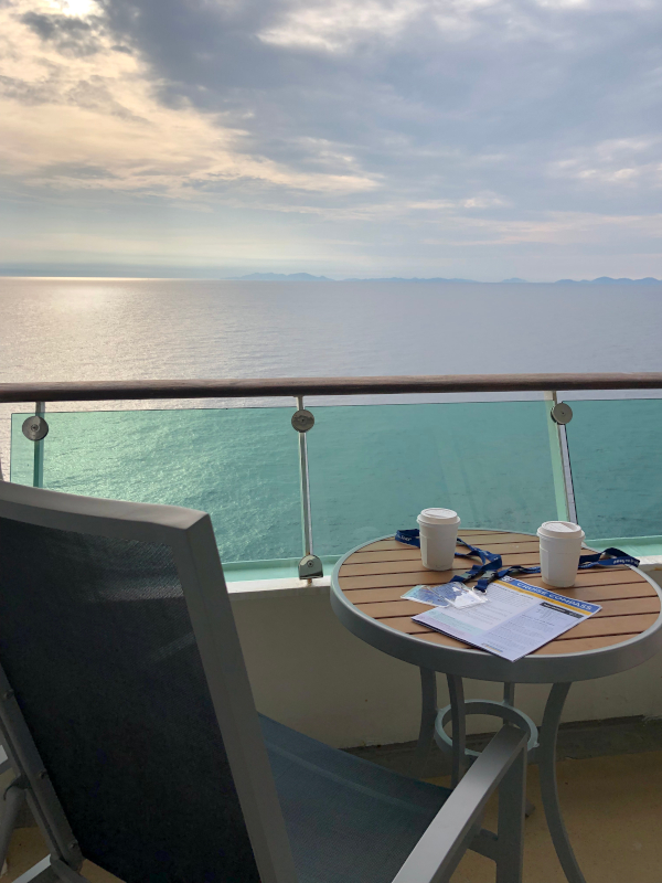 View of cruise balcony looking out to see