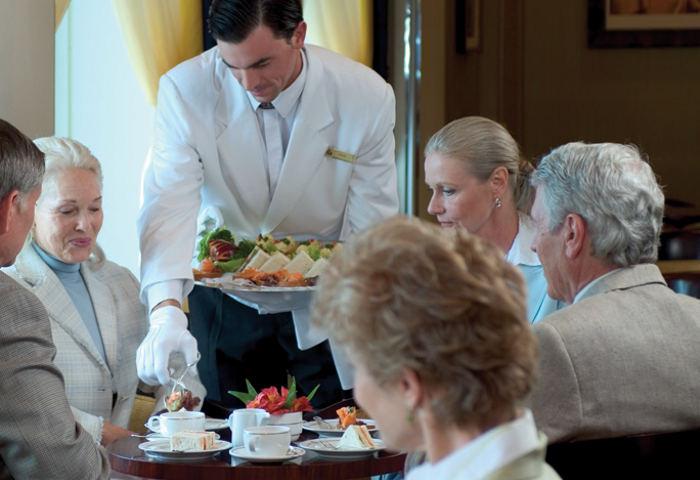 high tea service QM2 Cunard ship