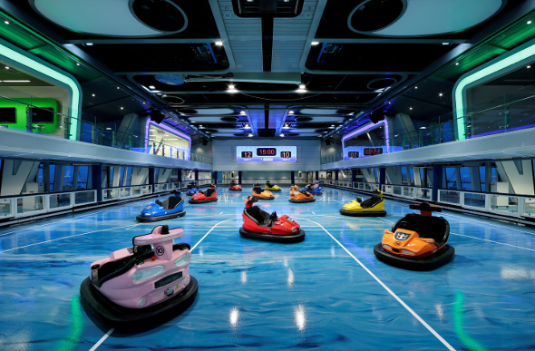 Bumper cars at the SeaPlex on board cruise ship Ovation of the Seas.