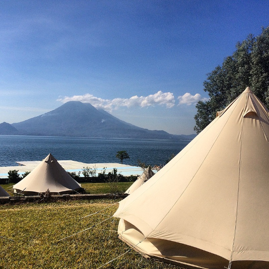 Glamping tents on the shores of Lake Atitlan in Guatemala.