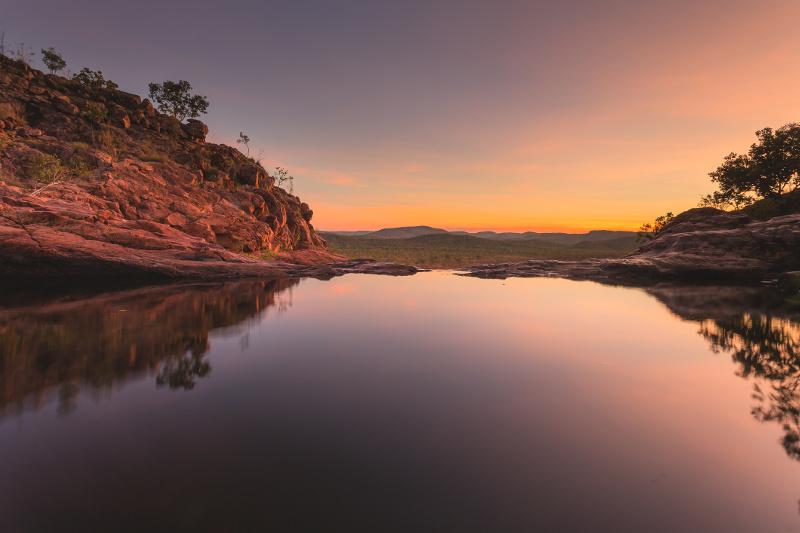 The top of Gunlom waterfalls in Kakadu National Park, Northern Territory.