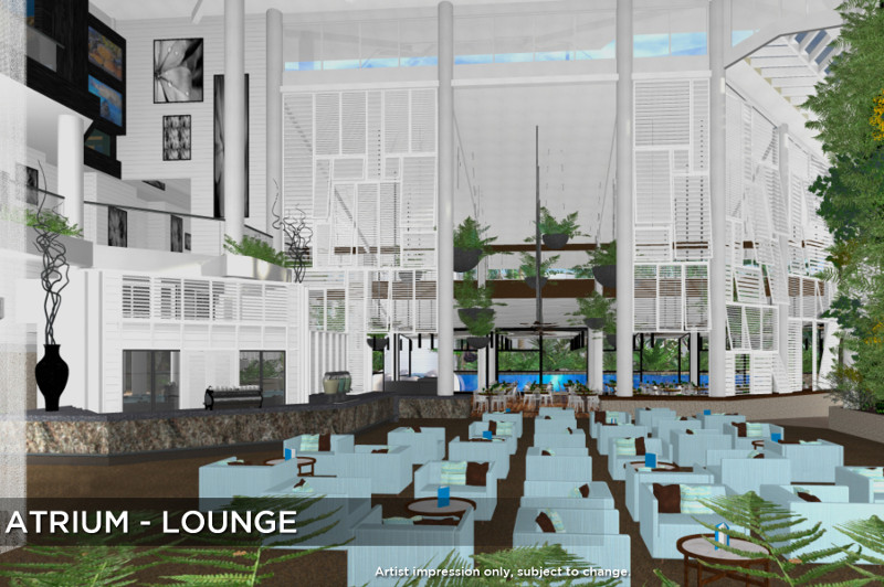 An artist's impression of the revamped lounge area at Daydream Island Resort & Spa.