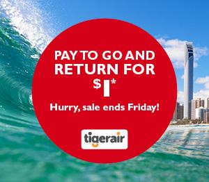 Tiger Air Return for $1 Sale