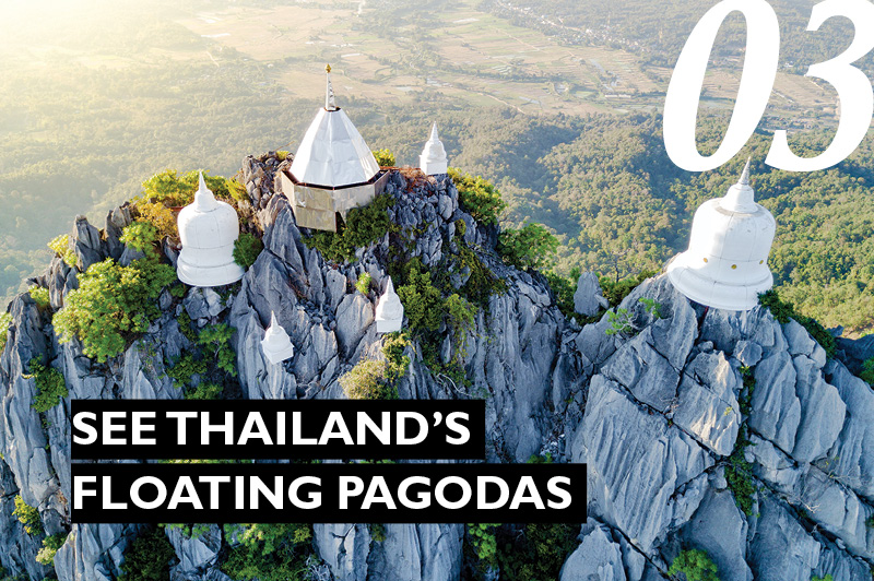 floating pagodas atop a mountain
