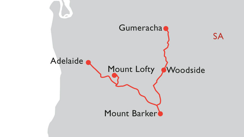 adelaide hills road trip map
