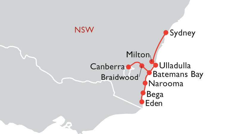 road trip map sydney to south coast