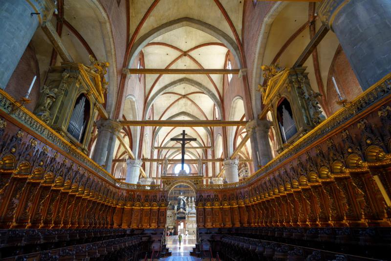 The interior of the Santa Maria Gloriosa dei Frari