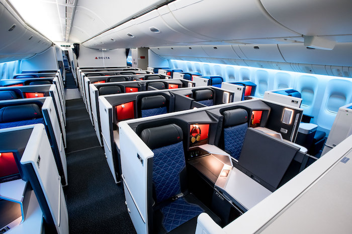 An image of Delta's Boeing 777 Business Suites upgraded to include a door