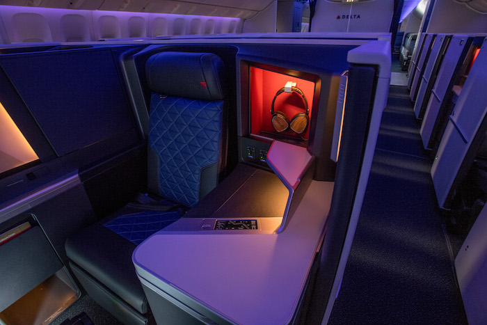 An image of Delta's Boeing 777 Business class Suites upgraded to include a door