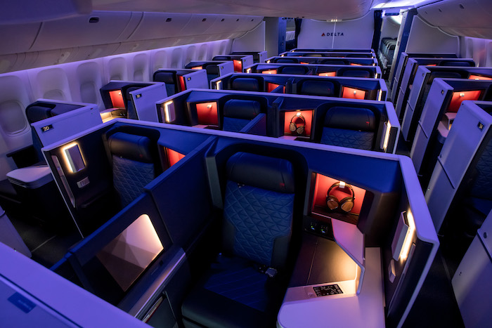 Close up of Delta's Boeing 777 Business class Suites upgraded to include a door