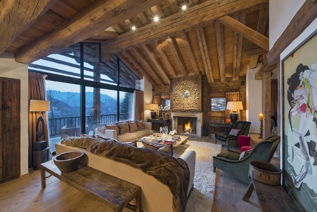 Luxury living area of Swiss ski chalet Dent Blanche