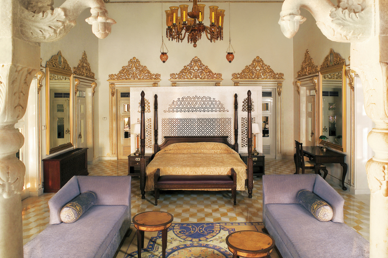 A luxurious suite at Taj Lake Palace in Rajasthan, India.