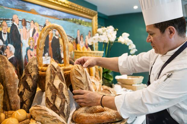Chef creating a food display