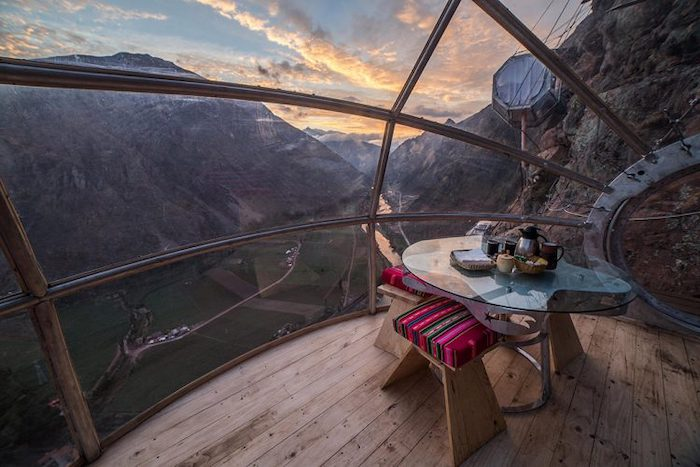 A view from the dining room of Natura Vive's Skylodge Suites, overlooking Cusco's stunning Sacred Valley - 14 romantic travel experiences for valentines day