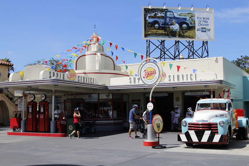 A Cars themed building inside a Disney park