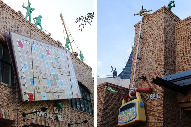 Some of the Toy Story detailing found in Pixar Place