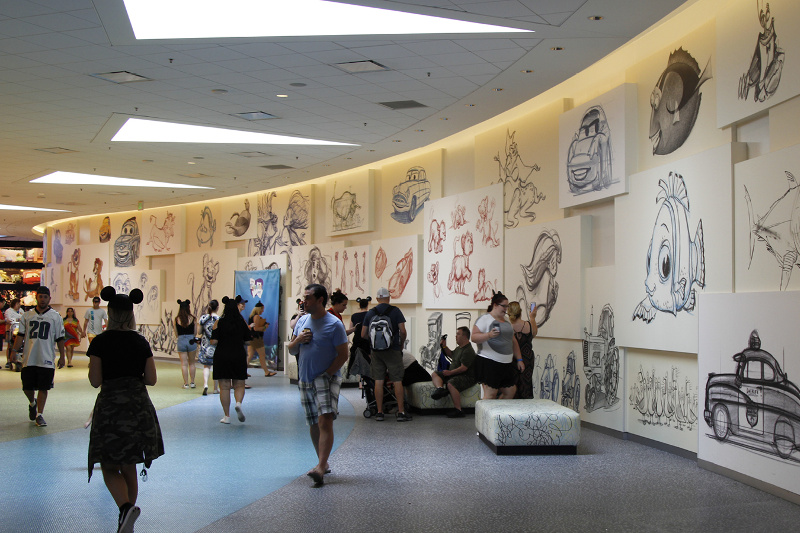 A wall of Disney sketches at Art of Animation