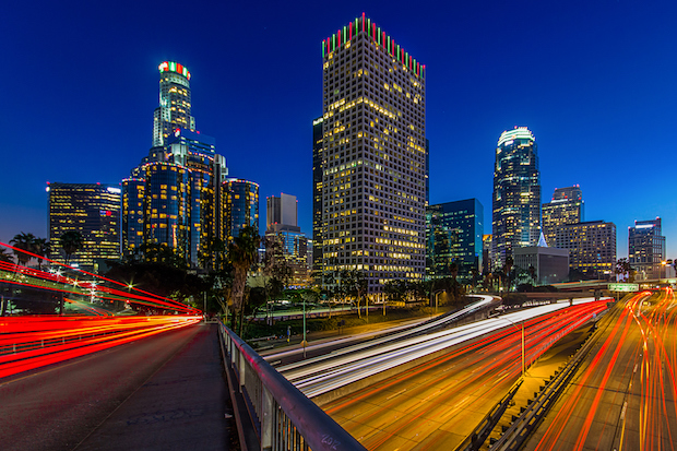 Downtown LA skyline at night